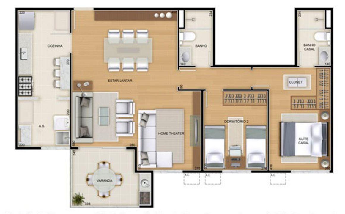 Torres 2 e 3 - 3 Quartos - 90 m² - Planta opção - 2 quartos e sala ampliada | Reserva Verde Residencial Park – Apartamentoem  Laranjeiras - Serra - Espírito Santo