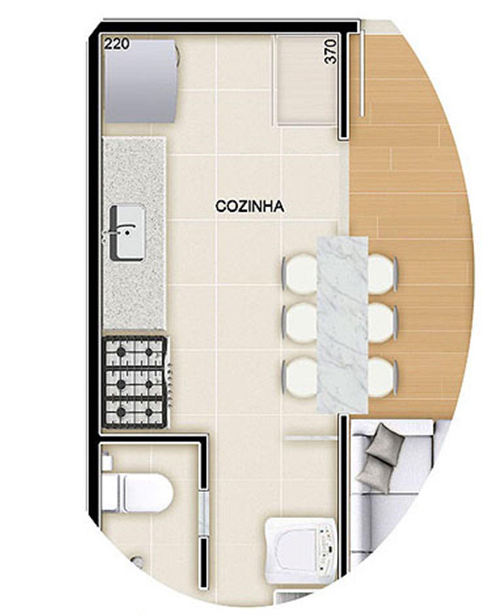 Torres 2 e 3 3 Quartos 90 m² Planta opção Cozinha Americana  #936C38 1605 2008