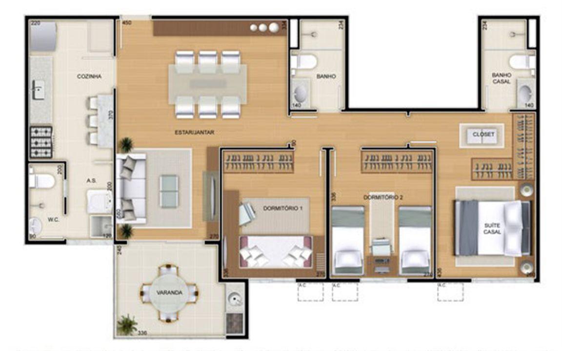 Torres 2 e 3 - 3 Quartos - 90 m² - Planta tipo | Reserva Verde Residencial Park – Apartamentoem  Laranjeiras - Serra - Espírito Santo