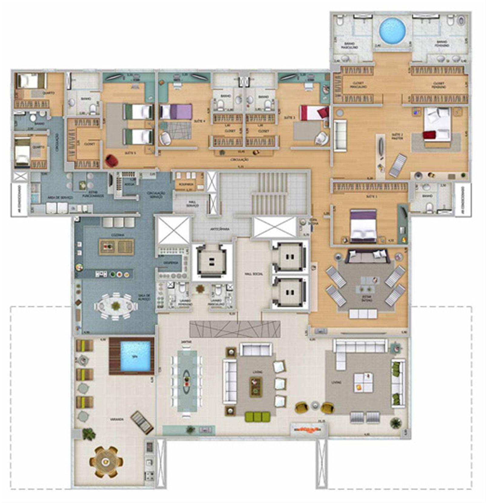 Edifício Zeus - Planta do 1º ao 8º pavimento | Olympus - Apolo e Athena – Apartamentona  Vila da Serra - Nova Lima - Minas Gerais