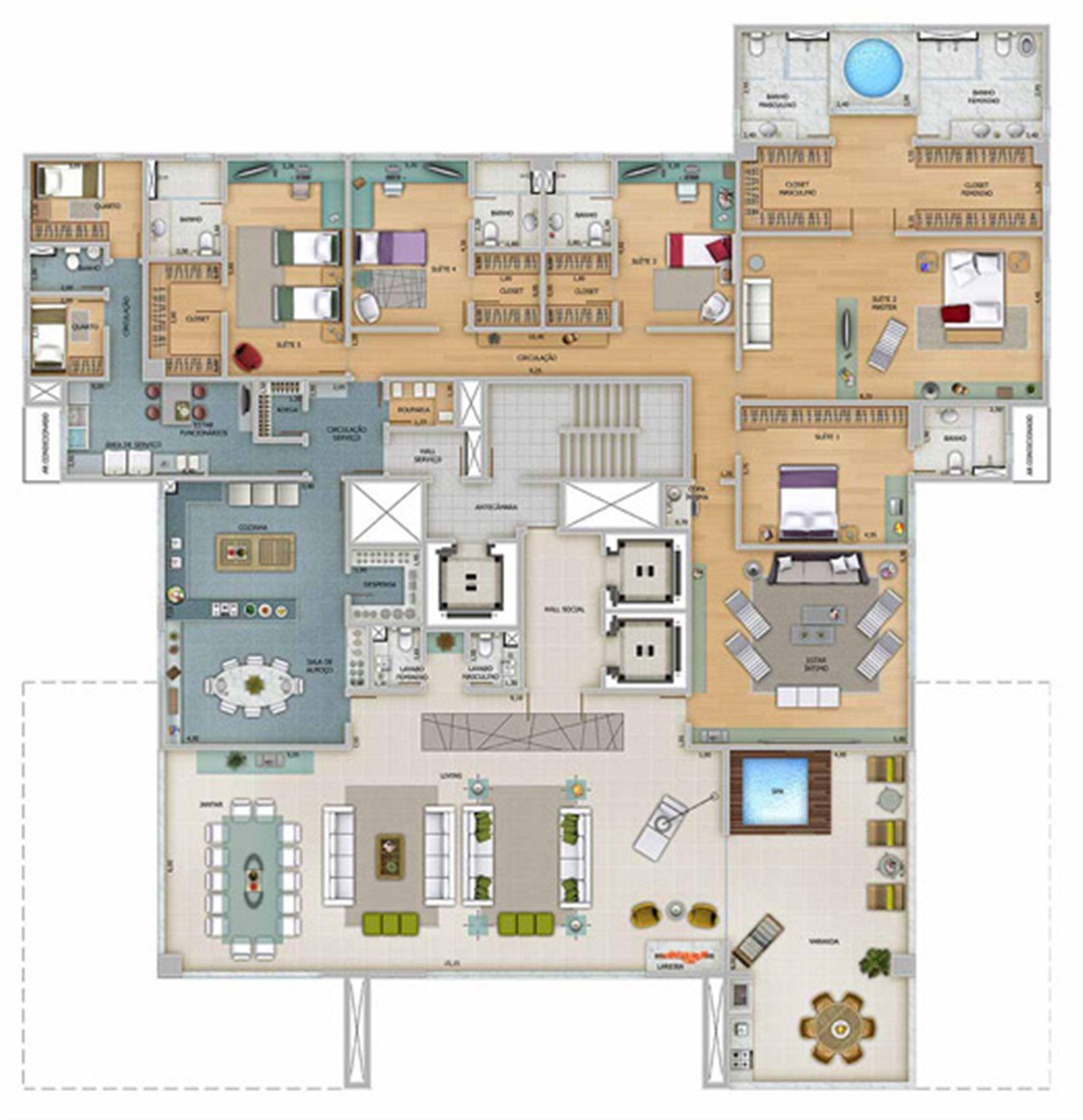 Edifício Zeus - Planta do 10º ao 15º pavimento | Olympus - Apolo e Athena – Apartamentona  Vila da Serra - Nova Lima - Minas Gerais