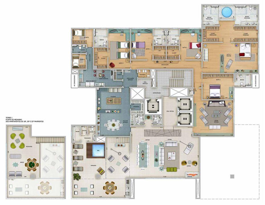 Edifício Zeus - Planta do 17º, 19º e 21º pavimento | Olympus - Apolo e Athena – Apartamentona  Vila da Serra - Nova Lima - Minas Gerais