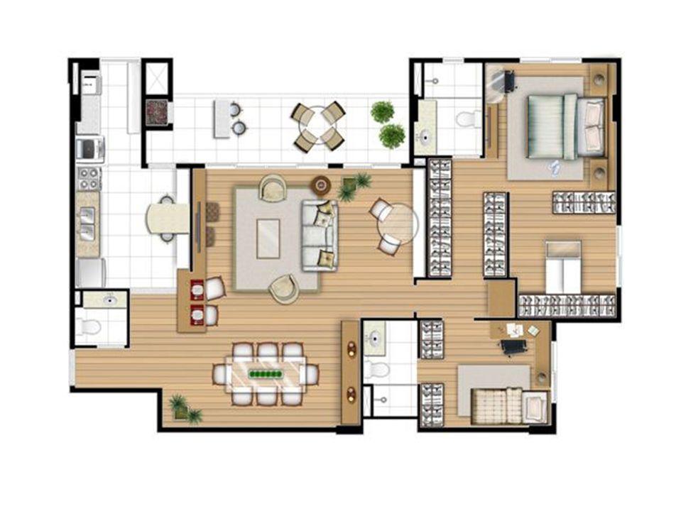 Planta opção 113 m² - 2 suítes | Acqua Verde Family Space – Apartamentono  Água Verde - Curitiba - Paraná