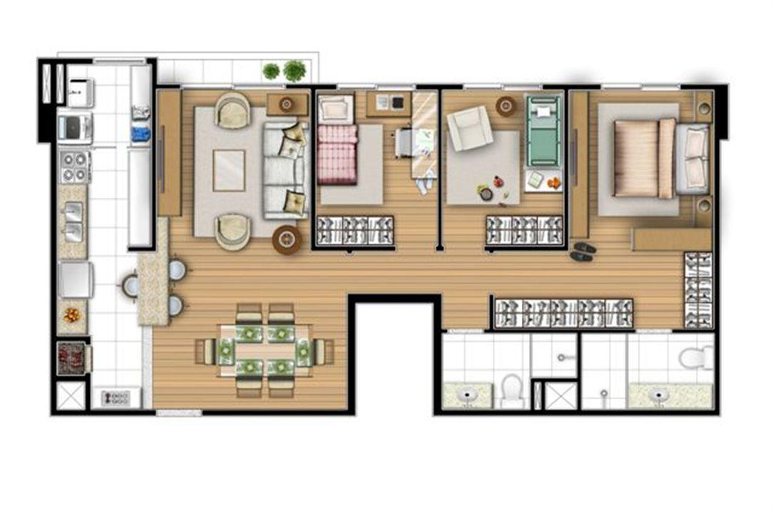 Planta tipo 80 m² - 3 quartos | Acqua Verde Family Space – Apartamentono  Água Verde - Curitiba - Paraná