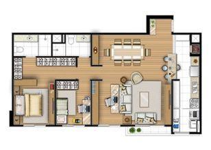 Planta tipo 87 m² - Sala ampliada | Acqua Verde Family Space – Apartamento no  Água Verde - Curitiba - Paraná