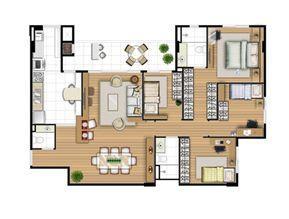 Planta tipo 113 m² - 4 quartos | Acqua Verde Family Space – Apartamento no  Água Verde - Curitiba - Paraná