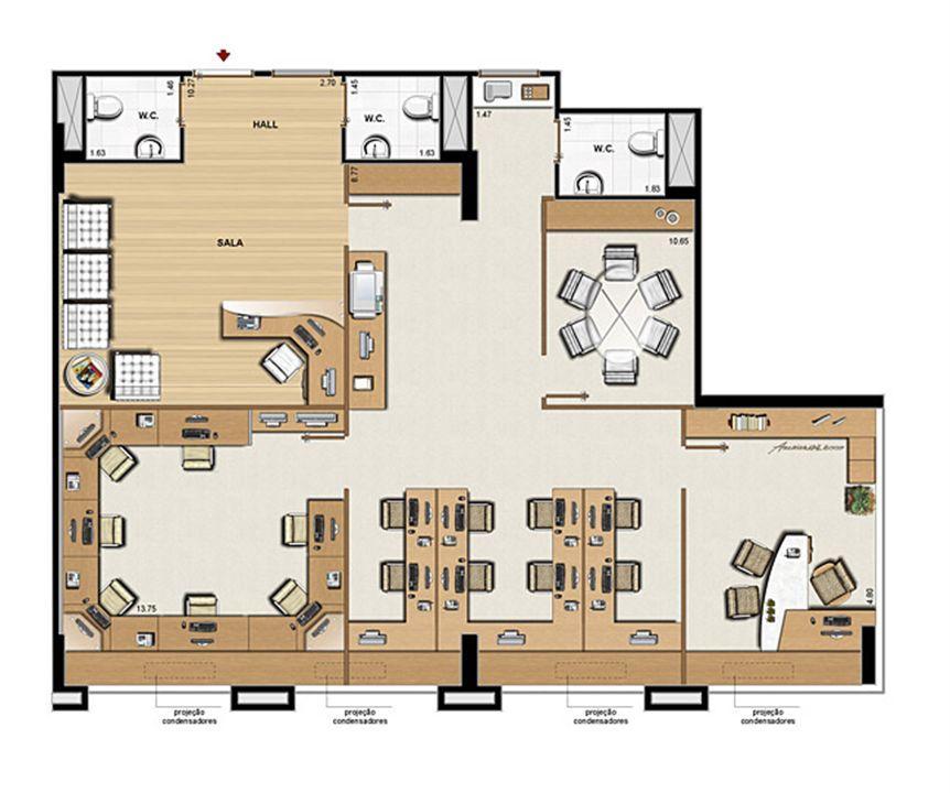 Planta opção 126 m² | CEO  Office – Salas Comerciaisna  Barra da Tijuca - Rio de Janeiro - Rio de Janeiro