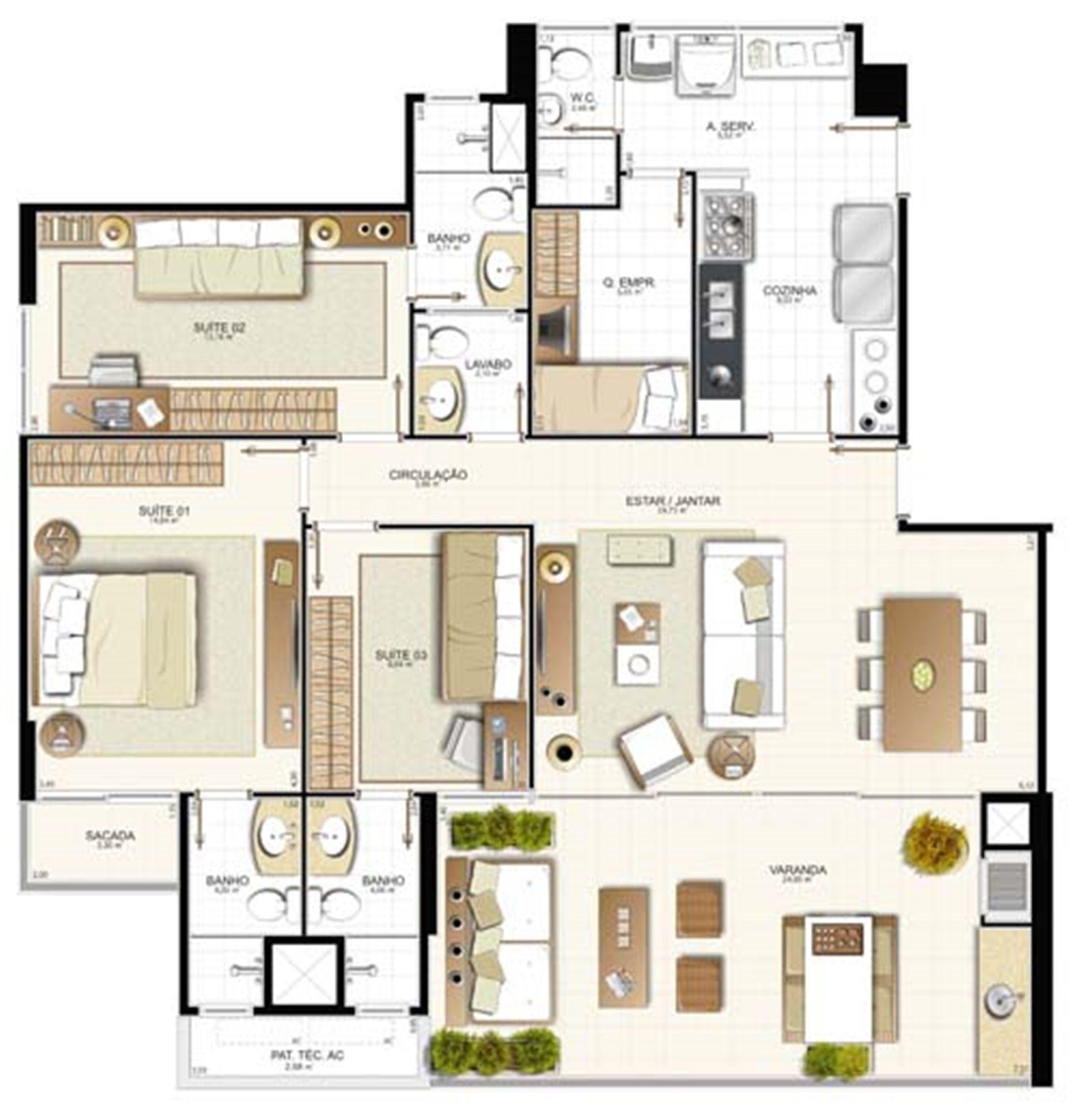 Planta 3 quartos - 129,49 m² | Provence Horto – Apartamentono  Horto Florestal - Salvador - Bahia