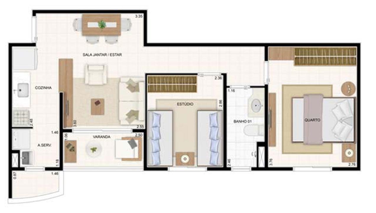 2 dorms 49,61m² 2 dorms 55m²   Vita 2 Residencial Clube – Apartamentono  Pitimbu - Natal - Rio Grande do Norte