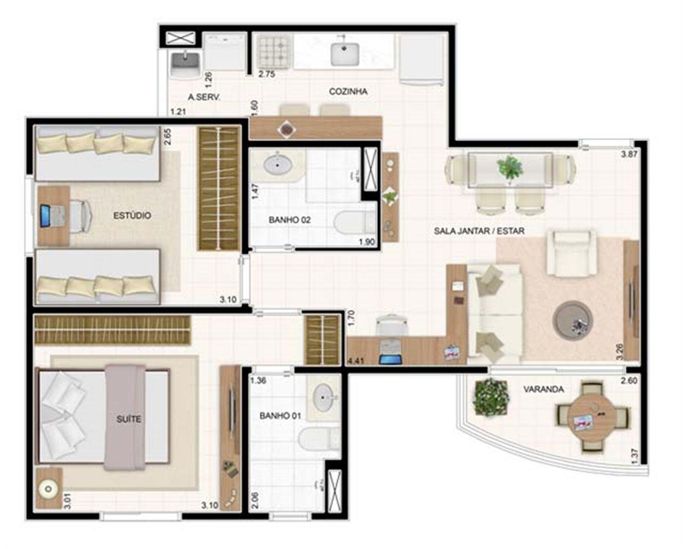 2 dorms 55m²   Vita 2 Residencial Clube – Apartamento no  Pitimbu - Natal - Rio Grande do Norte