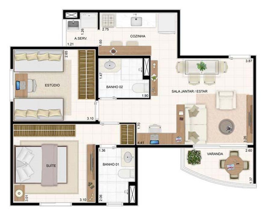 2 dorms 55m²   Vita 2 Residencial Clube – Apartamentono  Pitimbu - Natal - Rio Grande do Norte