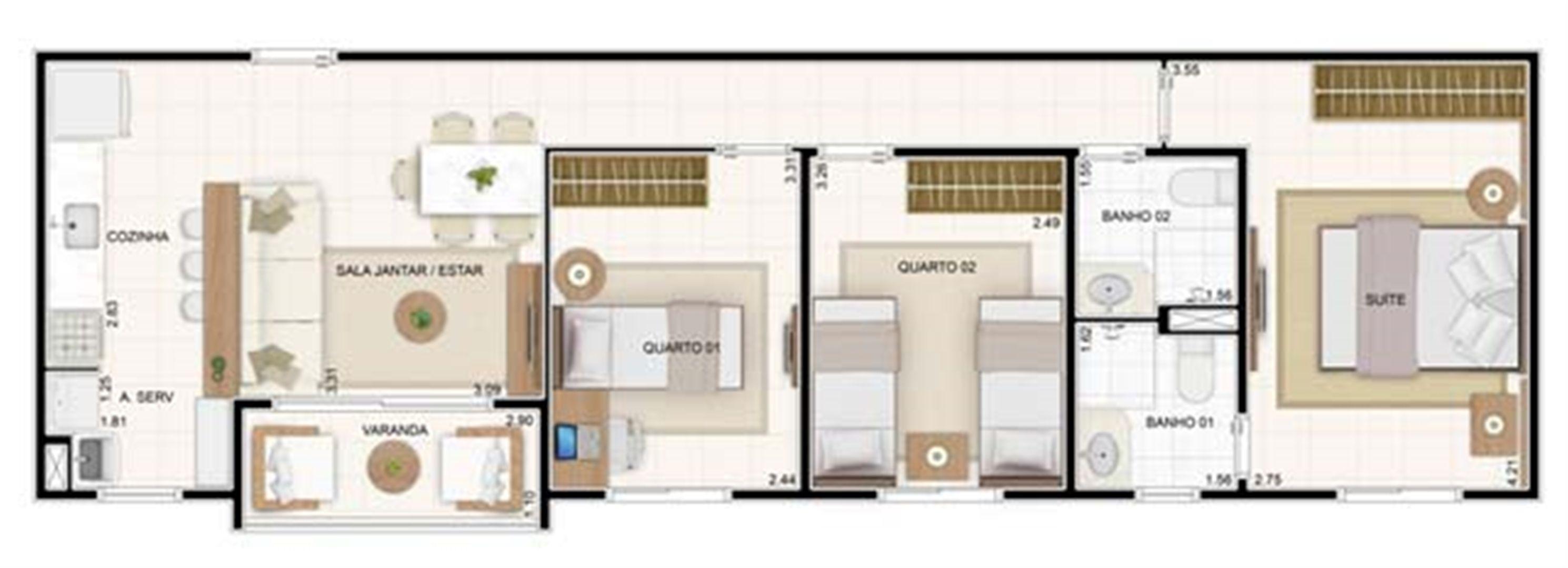 3 dorms 67,35m²   Vita 2 Residencial Clube – Apartamento no  Pitimbu - Natal - Rio Grande do Norte