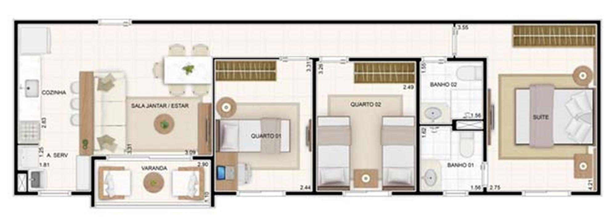 3 dorms 67,35m²   Vita 2 Residencial Clube – Apartamentono  Pitimbu - Natal - Rio Grande do Norte