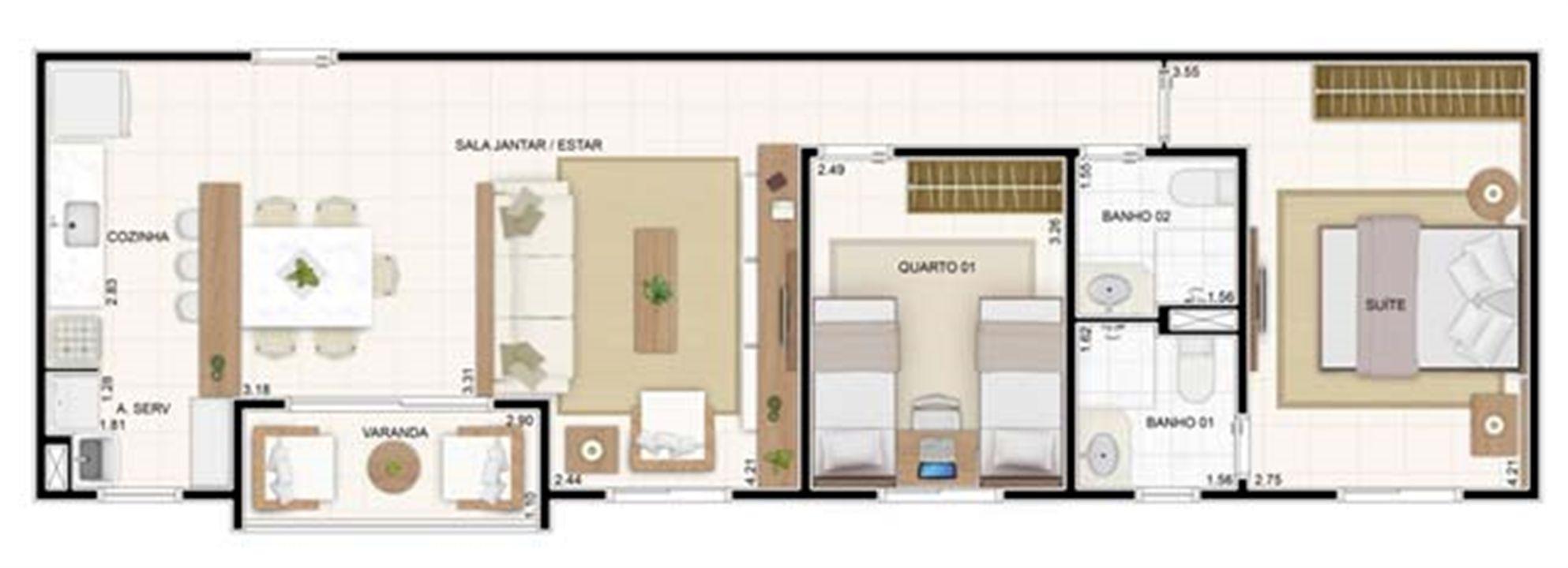 3 dorms Sala Ampliada 67,35m²   Vita 2 Residencial Clube – Apartamentono  Pitimbu - Natal - Rio Grande do Norte