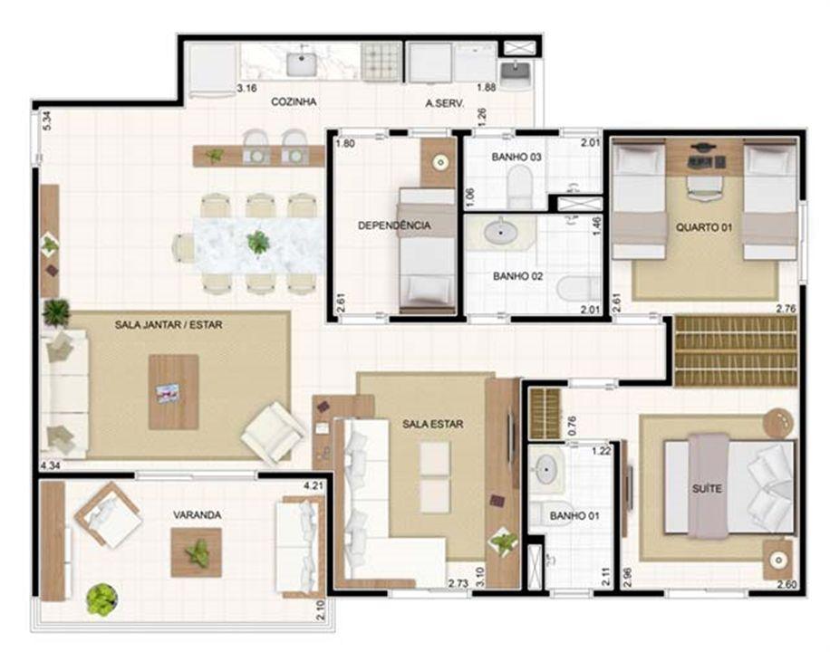 3 dorms Sala Ampliada 89,19m²   Vita 2 Residencial Clube – Apartamentono  Pitimbu - Natal - Rio Grande do Norte