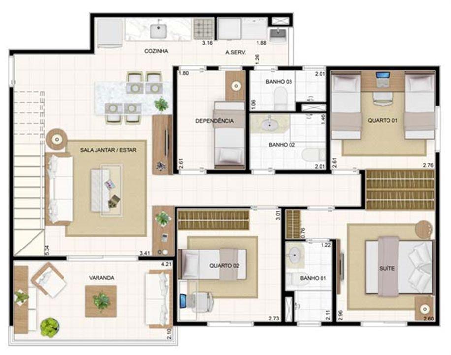Duplex Inferior 3 dorms 176,57m²   Vita 2 Residencial Clube – Apartamentono  Pitimbu - Natal - Rio Grande do Norte