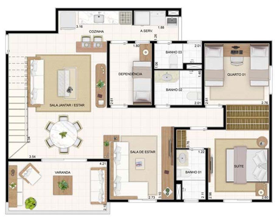Duplex Inferior Sala Ampliada 3 dorms 176,57m²   Vita 2 Residencial Clube – Apartamentono  Pitimbu - Natal - Rio Grande do Norte