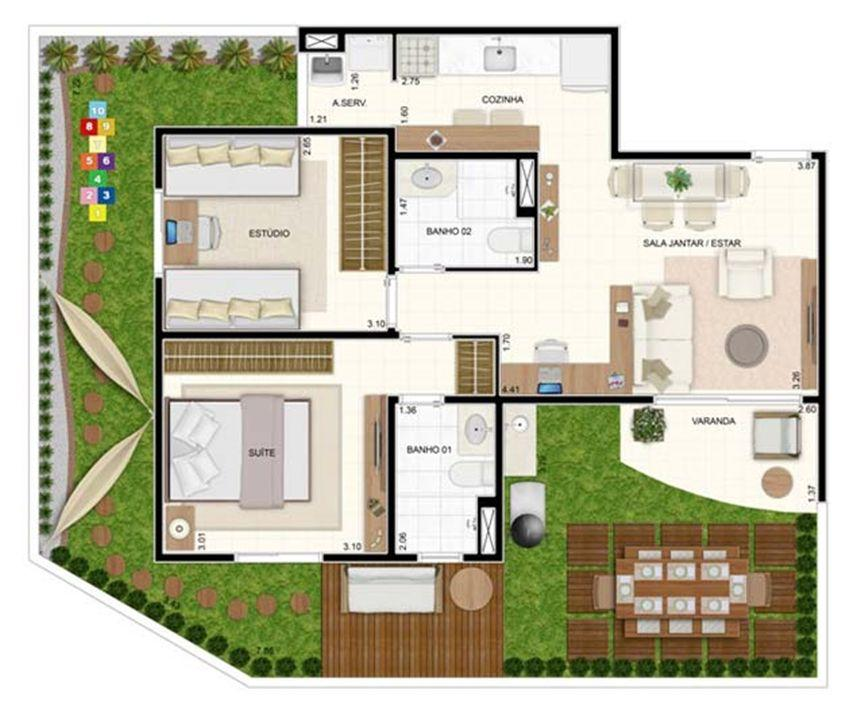 Giardino 2 dorms com Suíte 93,56m²   Vita 2 Residencial Clube – Apartamentono  Pitimbu - Natal - Rio Grande do Norte