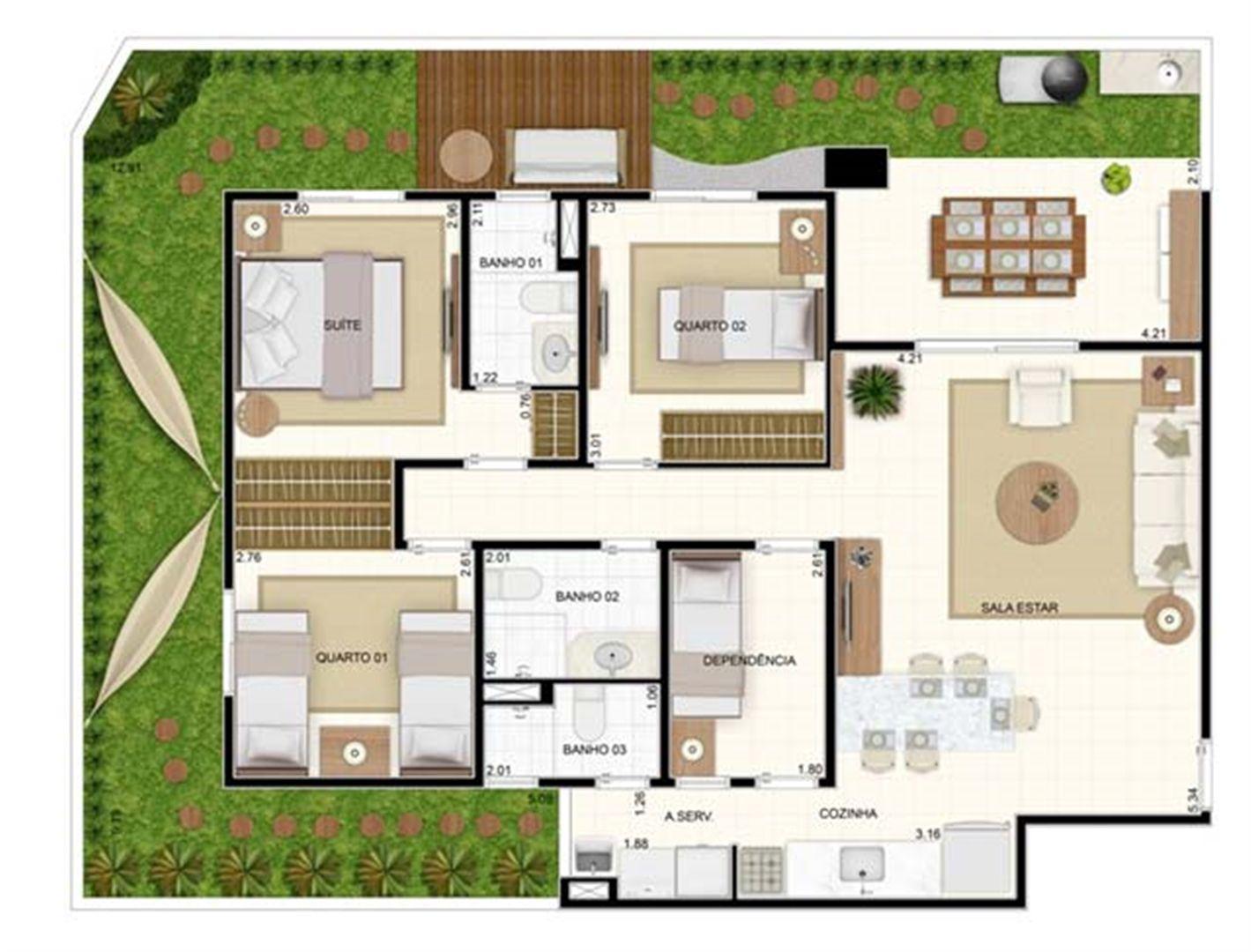 Giardino 3 dorms 129,10m²   Vita 2 Residencial Clube – Apartamento no  Pitimbu - Natal - Rio Grande do Norte