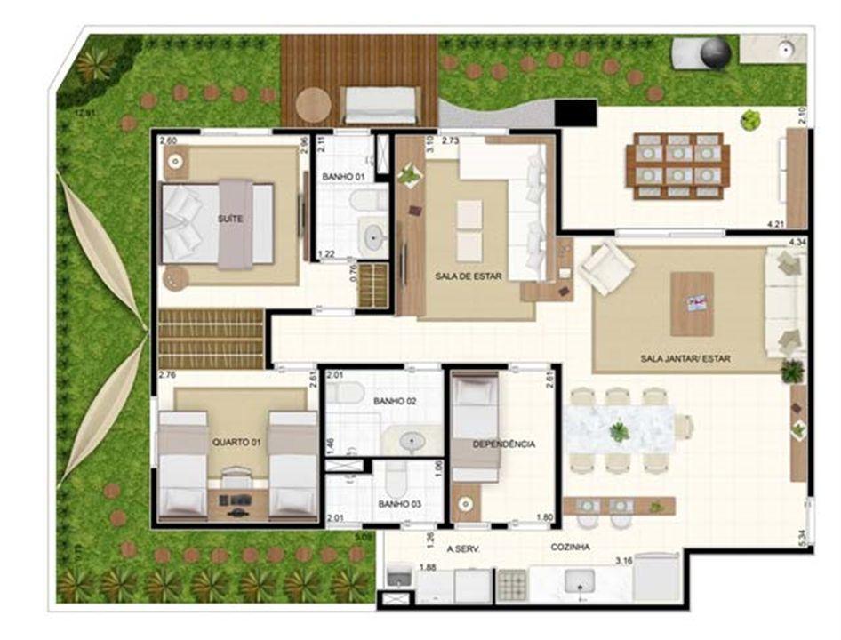 Giardino 3 dorms Sala Ampliada 129,10m²   Vita 2 Residencial Clube – Apartamentono  Pitimbu - Natal - Rio Grande do Norte