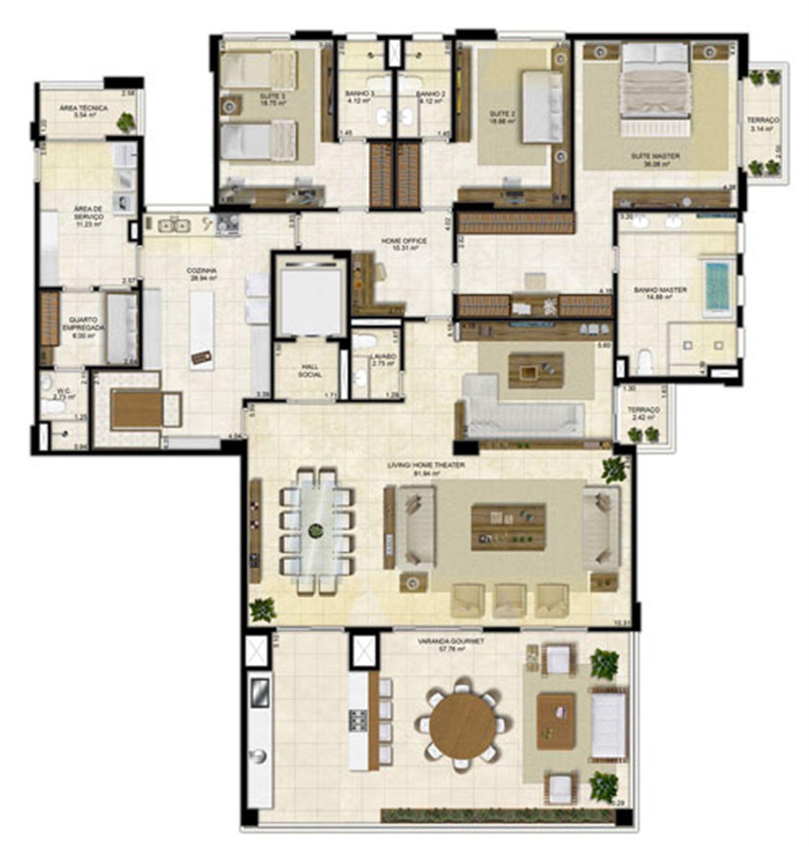 Planta ampliada 305 m² - Cozinha Ampliada e Sala de Jantar integrada – Pavimentos Pares | Île Saint Louis  – Apartamentona  Ponta D'areia - São Luís - Maranhão