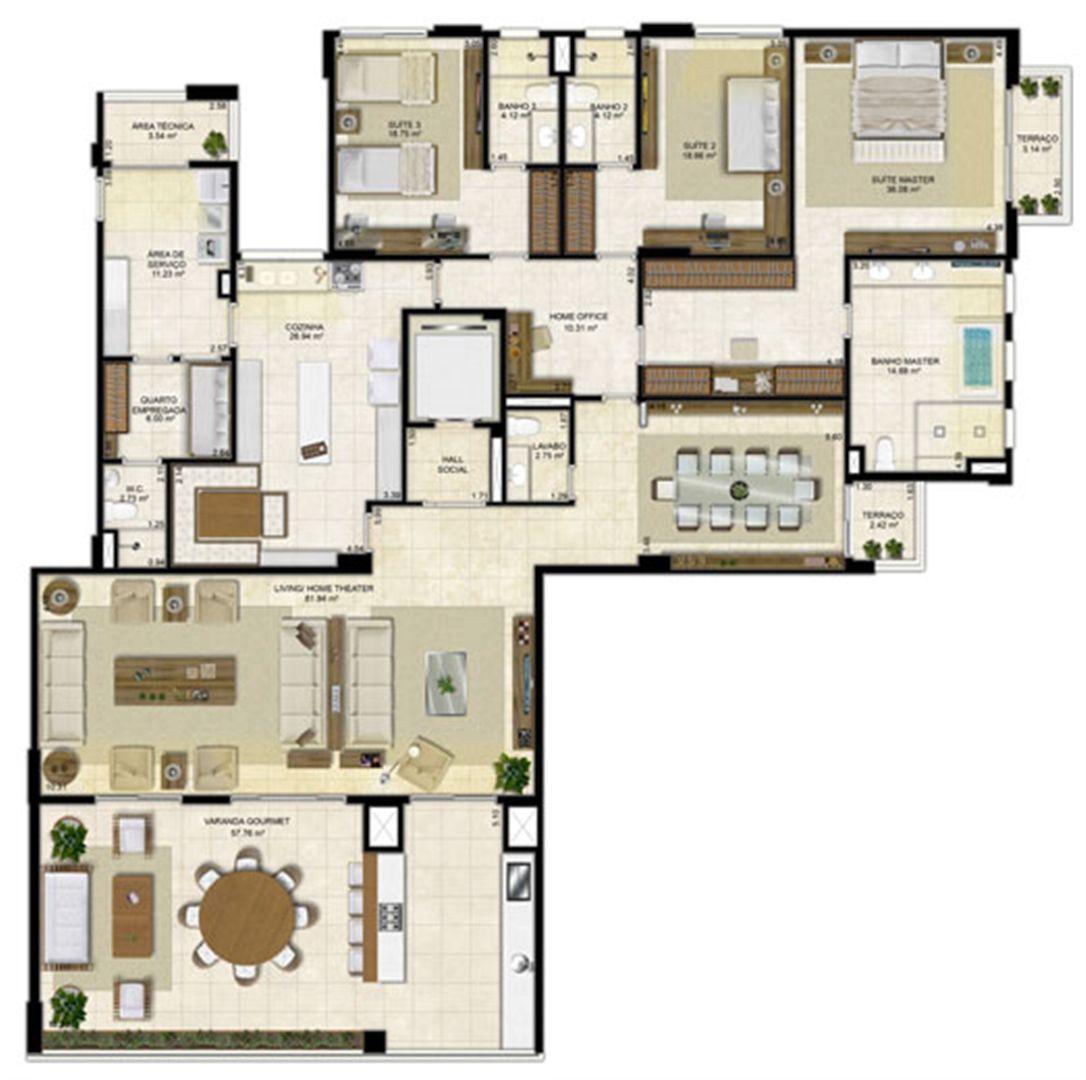 Planta ampliada 305 m² - Cozinha ampliada e Sala de Jantar reservada - Pavimentos ímpares | Île Saint Louis  – Apartamento na  Ponta D'areia - São Luís - Maranhão