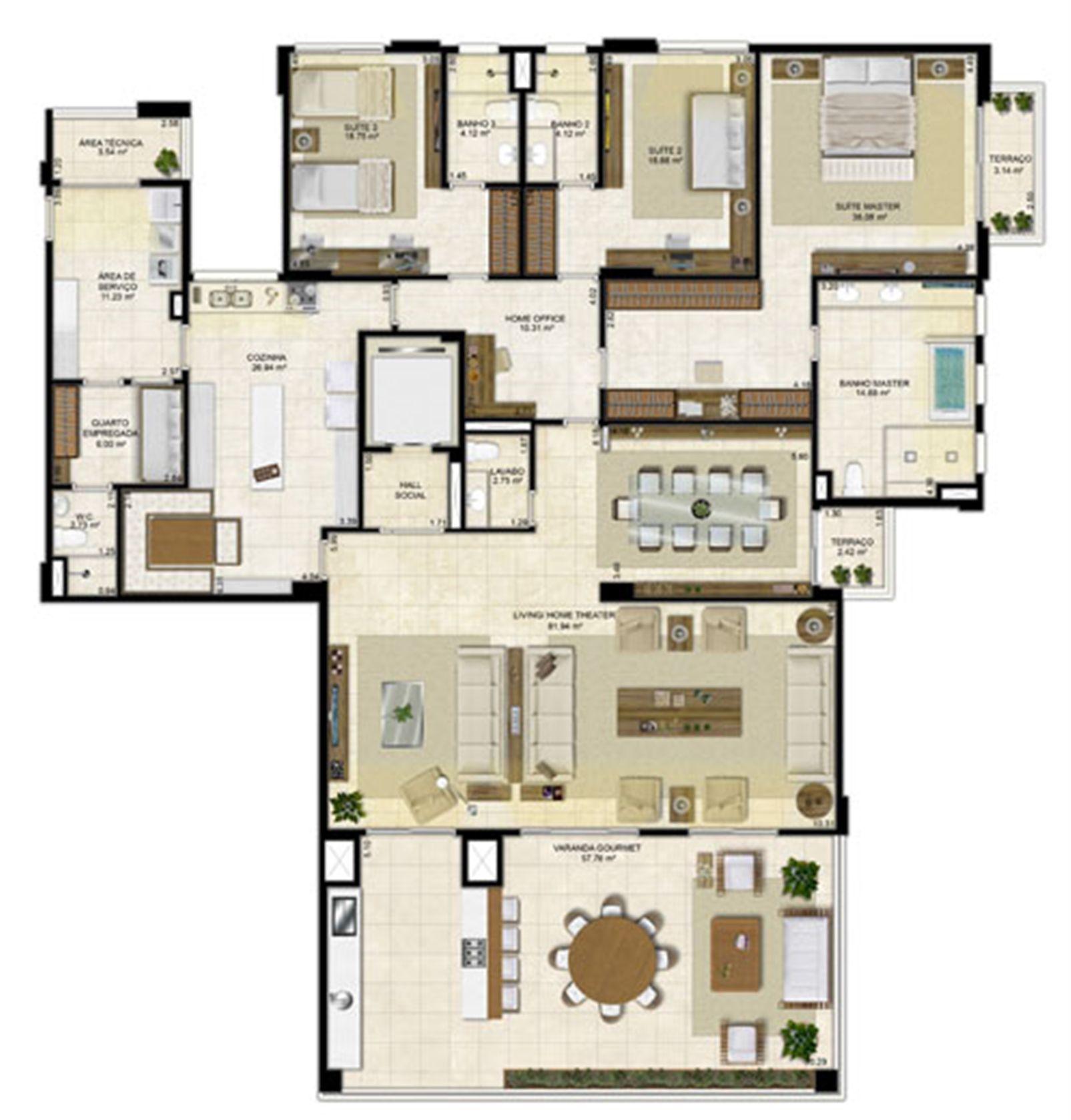 Planta ampliada 305 m² - Cozinha Ampliada e Sala de Jantar reservada – Pavimentos Pares | Île Saint Louis  – Apartamentona  Ponta D'areia - São Luís - Maranhão