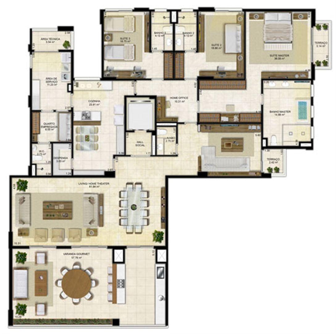 Planta Ampliada 305 m² - Pavimento ímpar-2 | Île Saint Louis  – Apartamento na  Ponta D'areia - São Luís - Maranhão