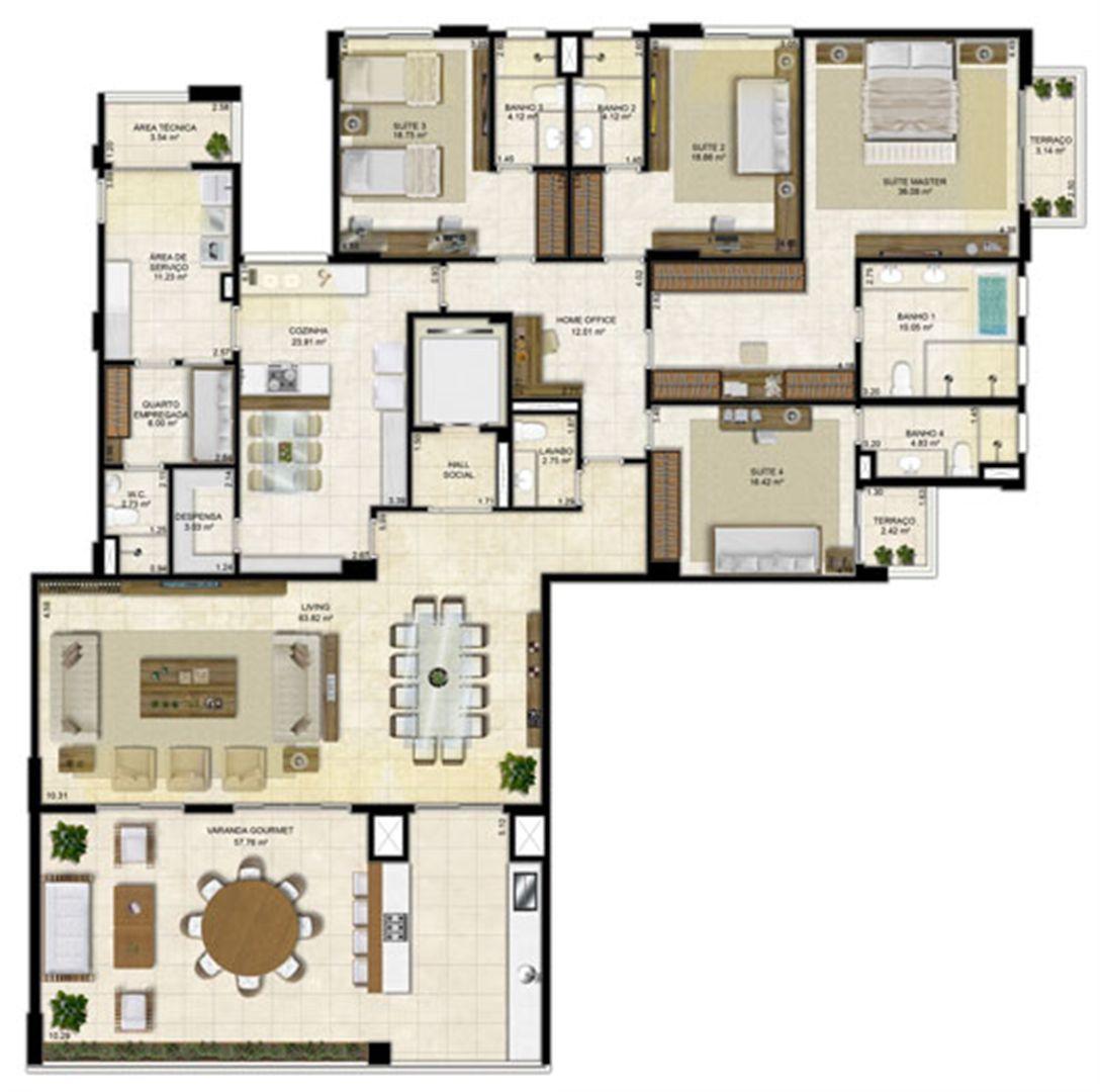 Planta Tipo 305 m² - Pavimento Ímpar | Île Saint Louis  – Apartamento na  Ponta D'areia - São Luís - Maranhão