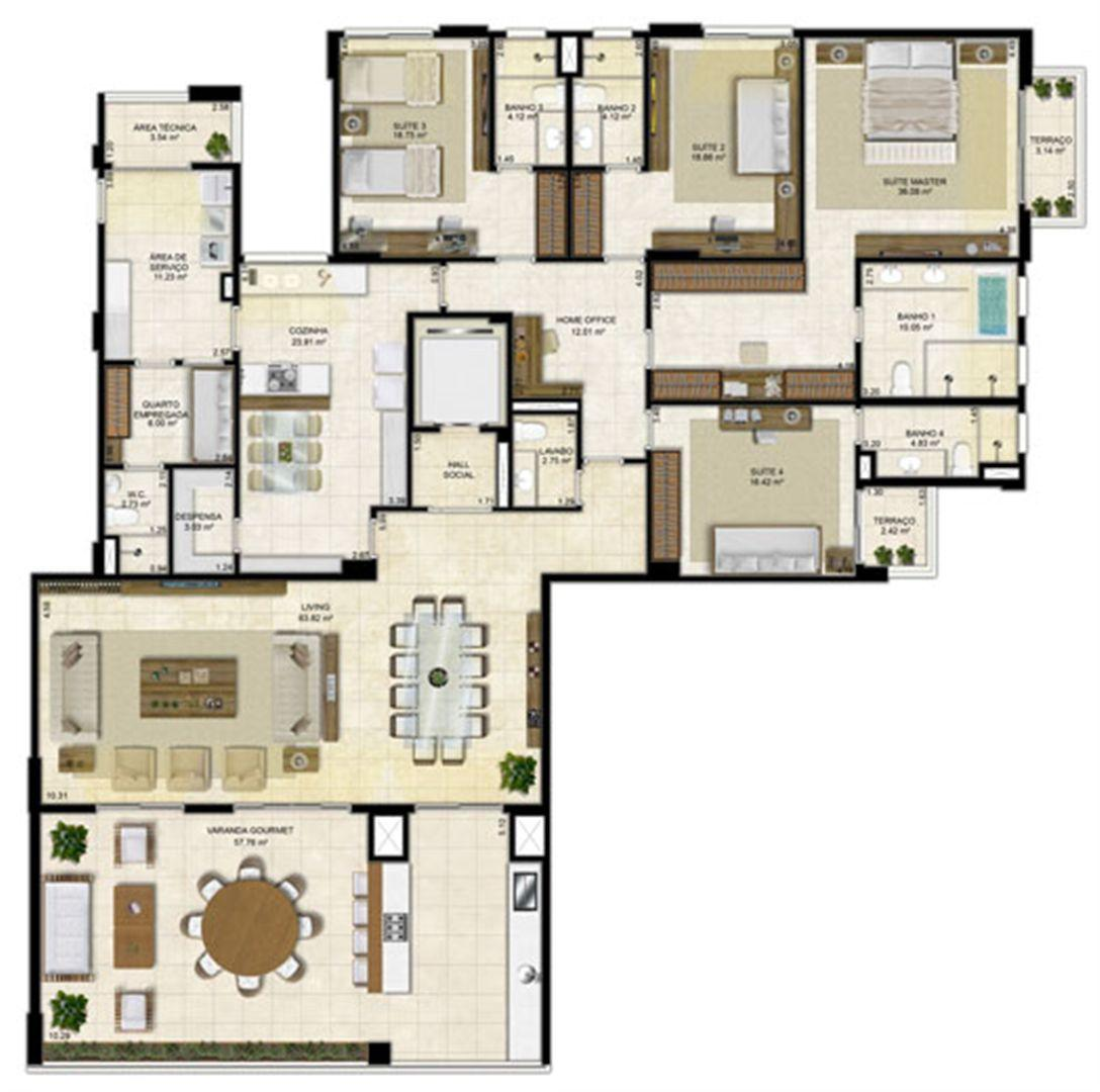 Planta Tipo 305 m² - Pavimento ímpar-2 | Île Saint Louis  – Apartamento na  Ponta D'areia - São Luís - Maranhão