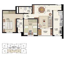 Planta Tipo 2 quartos - 64,70 m²   Morada Alto do Imbuí – Apartamento no  Alto do Imbuí - Salvador - Bahia