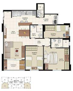 Planta Tipo 3 quartos - 75,37 m²   Morada Alto do Imbuí – Apartamento no  Alto do Imbuí - Salvador - Bahia