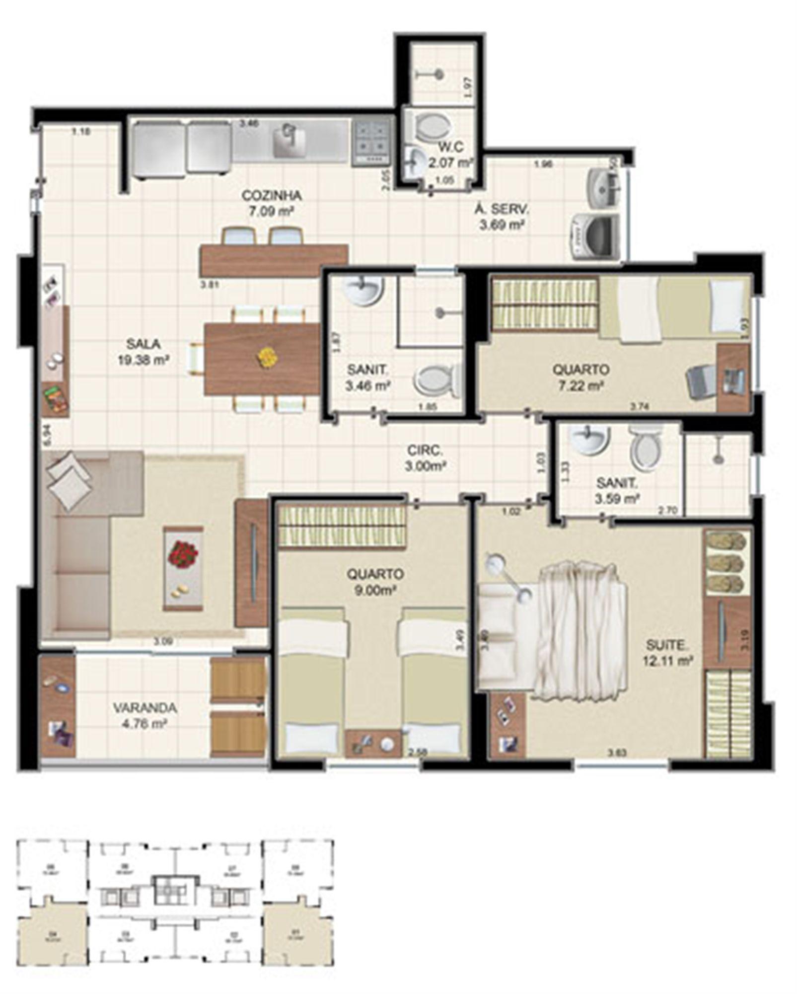 Planta Tipo 3 quartos - 75,37 m²   Morada Alto do Imbuí – Apartamentono  Alto do Imbuí - Salvador - Bahia
