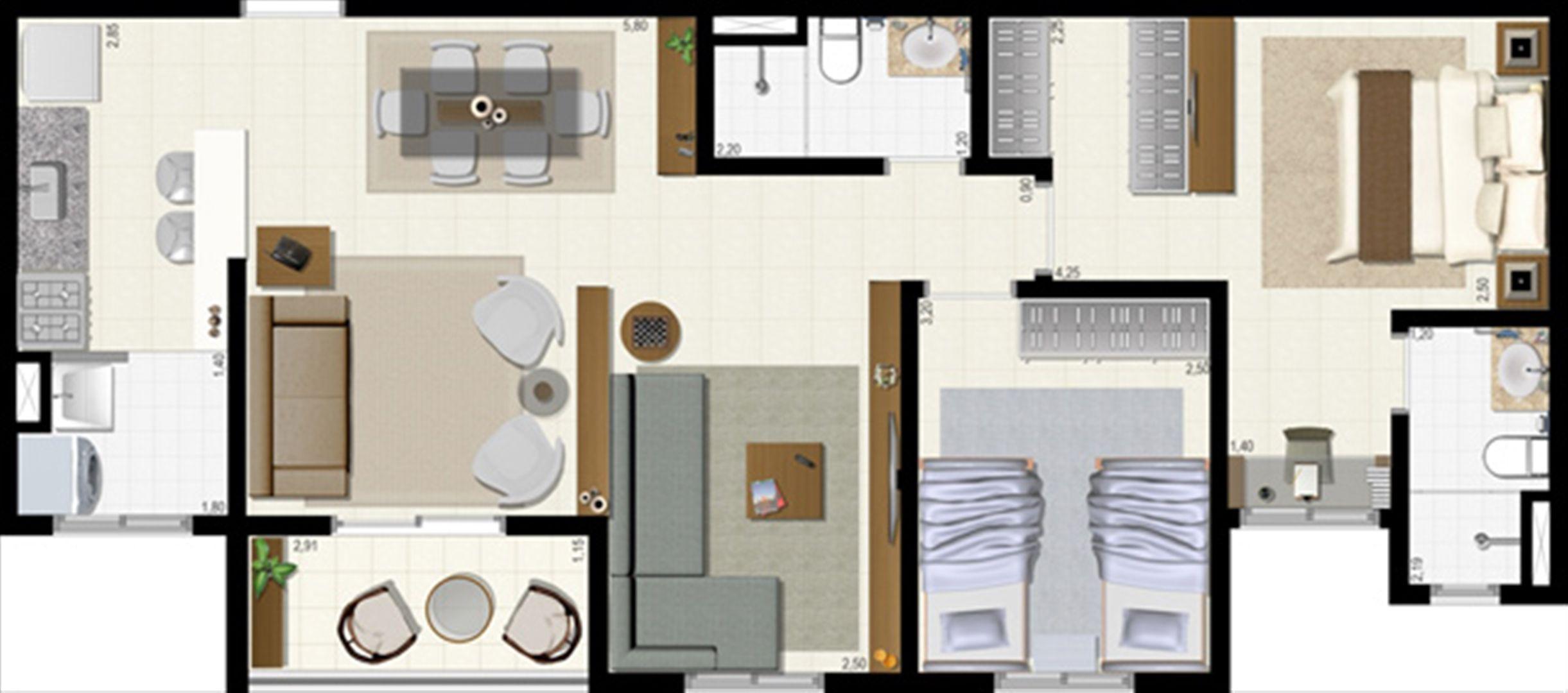Planta 72 m² - ampliada | L´Acqua Condominium Club – Apartamento em  Neópolis - Natal - Rio Grande do Norte