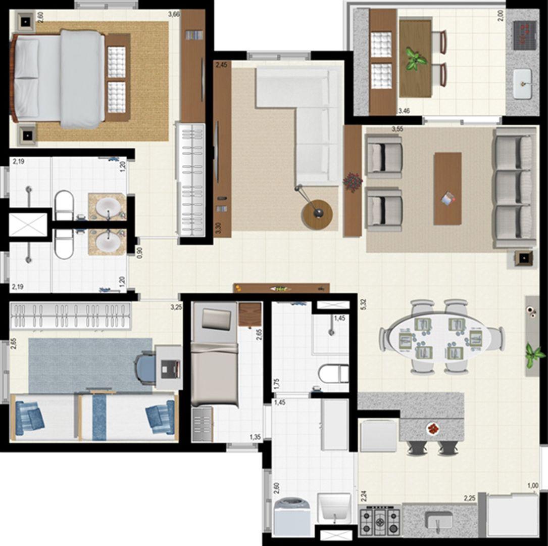 Planta 92 m² - ampliada | L´Acqua Condominium Club – Apartamento em  Neópolis - Natal - Rio Grande do Norte