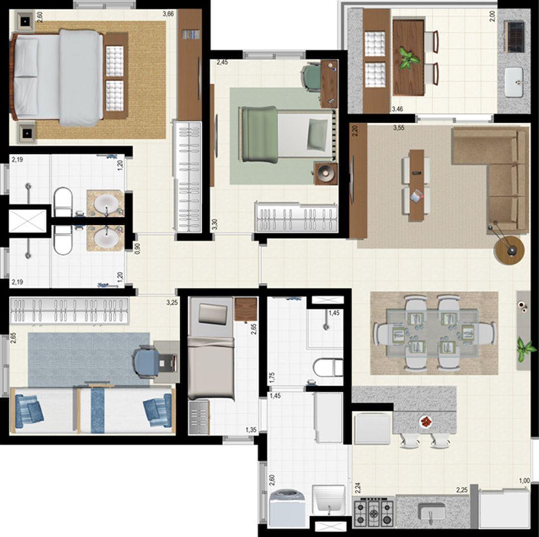 Planta 92 m² | L´Acqua Condominium Club – Apartamento em  Neópolis - Natal - Rio Grande do Norte