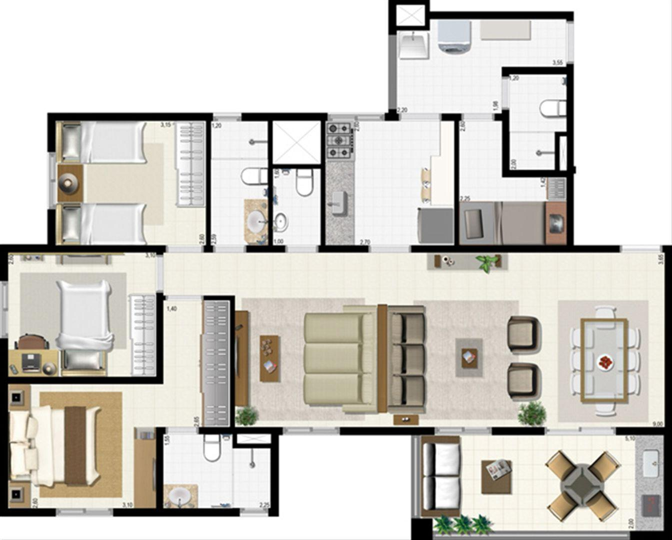 Planta 114 m² - ampliada | L´Acqua Condominium Club – Apartamento em  Neópolis - Natal - Rio Grande do Norte