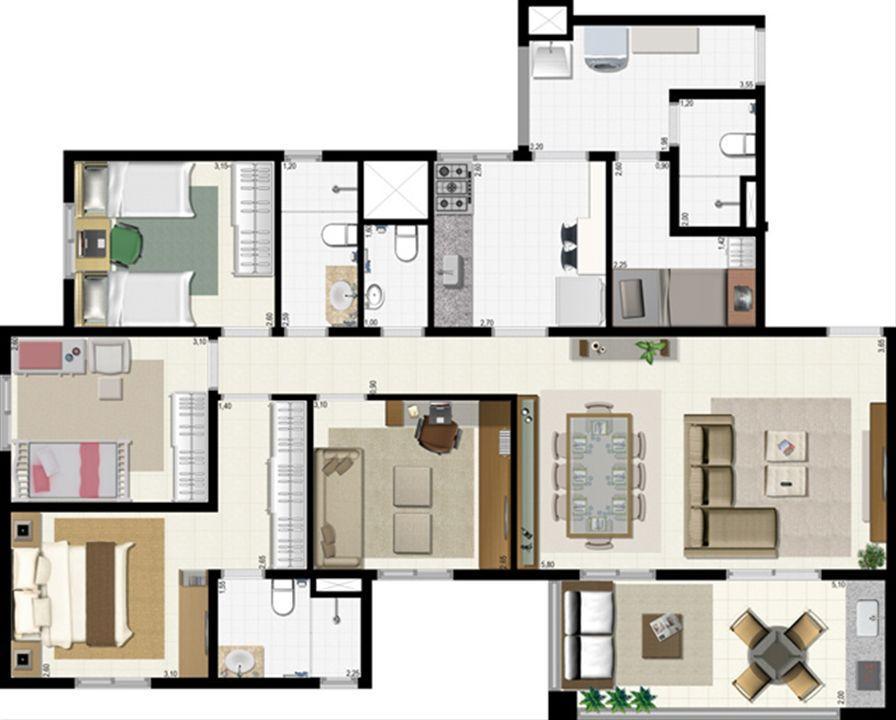 Planta 114 m² | L´Acqua Condominium Club – Apartamentoem  Neópolis - Natal - Rio Grande do Norte