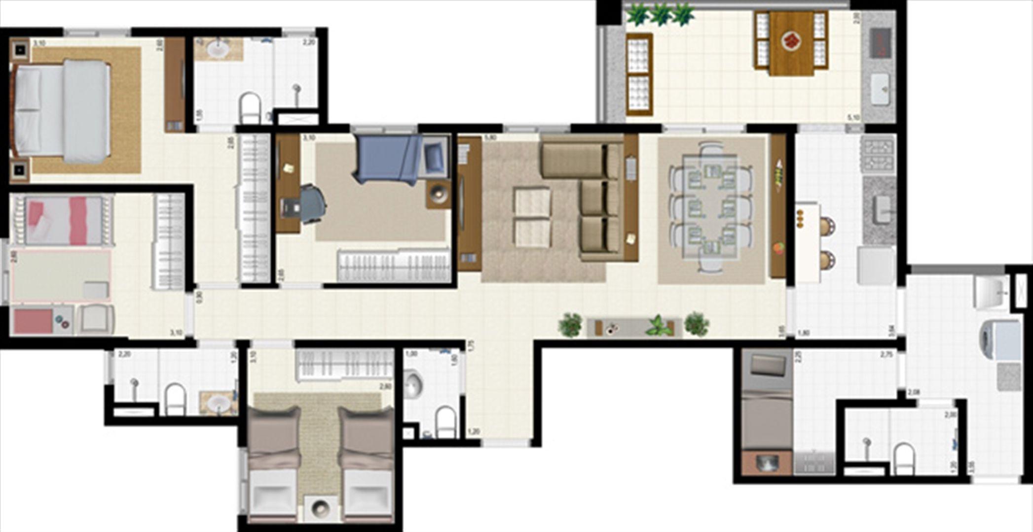 Planta 117 m² | L´Acqua Condominium Club – Apartamento em  Neópolis - Natal - Rio Grande do Norte