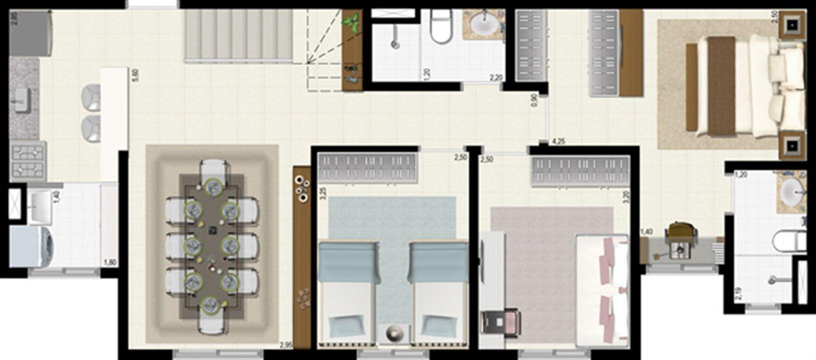 Planta duplex 126 m² - inferior | L´Acqua Condominium Club – Apartamentoem  Neópolis - Natal - Rio Grande do Norte