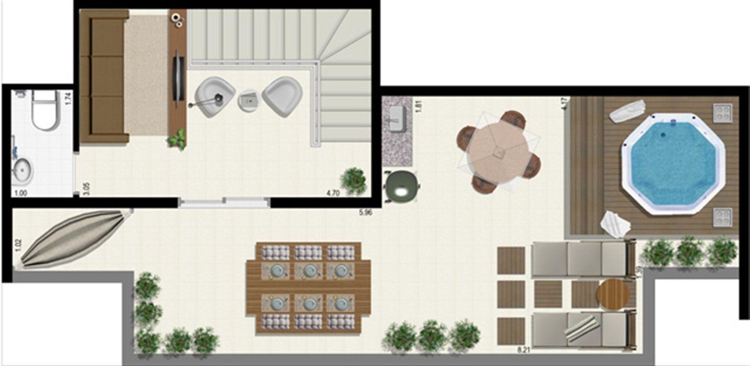 Planta duplex 126 m² - superior | L´Acqua Condominium Club – Apartamentoem  Neópolis - Natal - Rio Grande do Norte