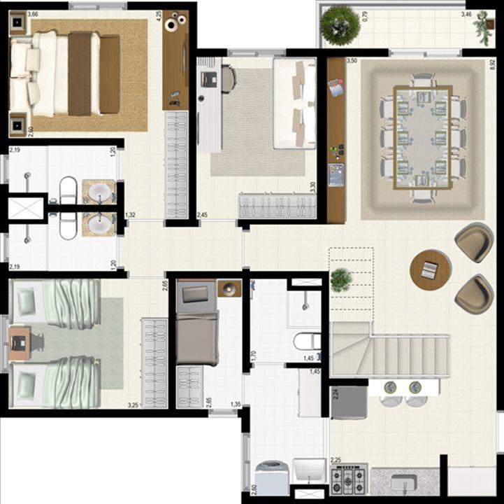 Planta duplex 152 m² - inferior | L´Acqua Condominium Club – Apartamentoem  Neópolis - Natal - Rio Grande do Norte