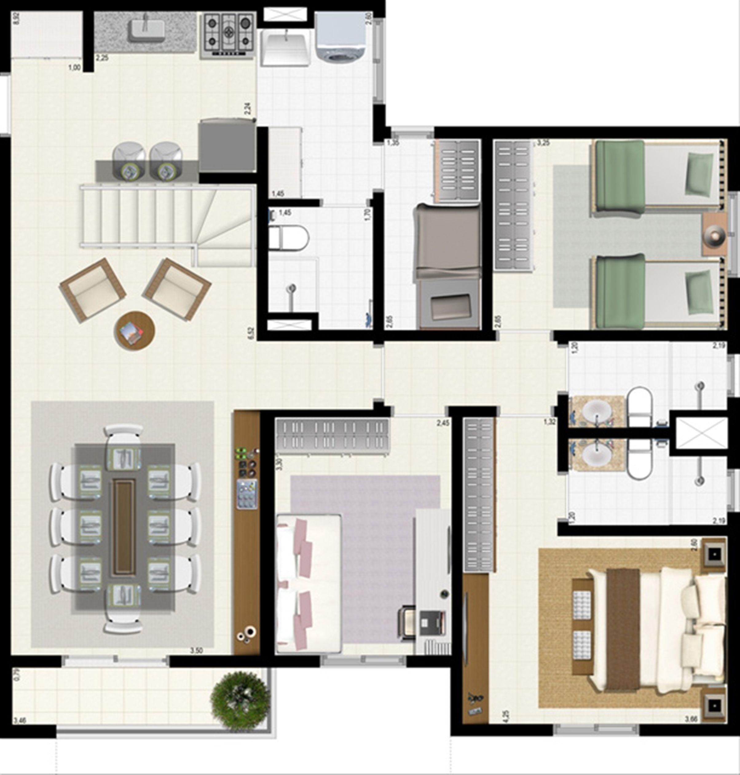 Planta duplex 153 m² - inferior | L´Acqua Condominium Club – Apartamento em  Neópolis - Natal - Rio Grande do Norte