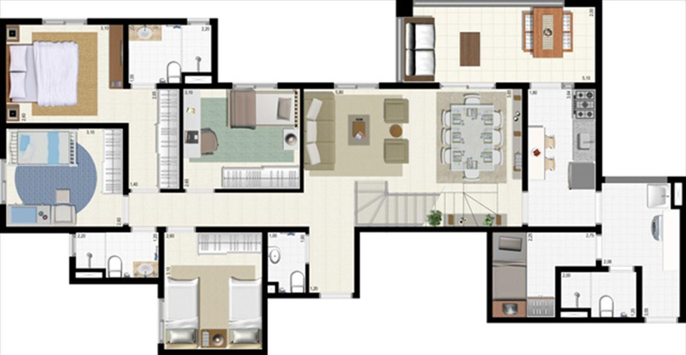 Planta duplex 191 m² - inferior | L´Acqua Condominium Club – Apartamentoem  Neópolis - Natal - Rio Grande do Norte