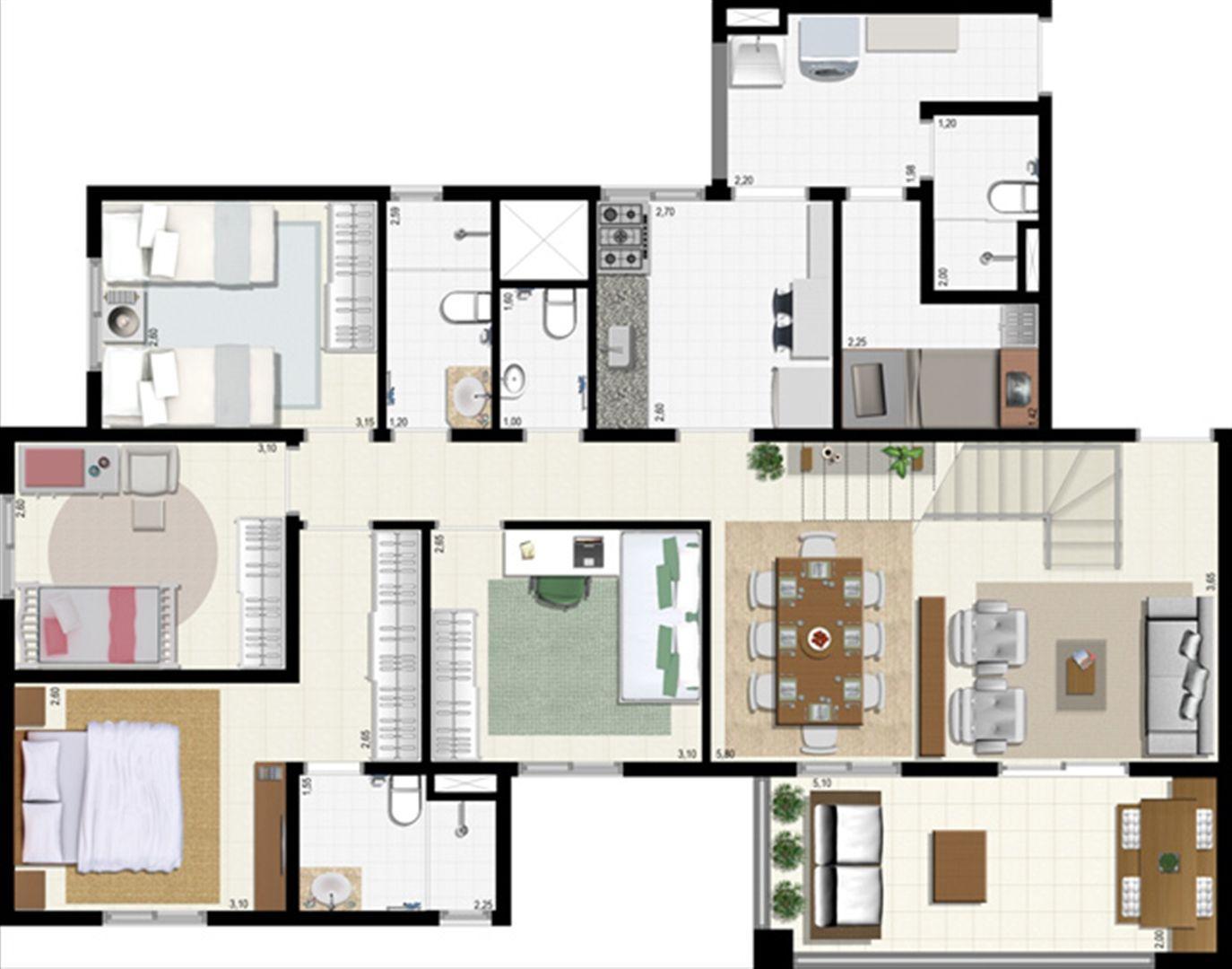 Planta duplex 207 m² - inferior | L´Acqua Condominium Club – Apartamento em  Neópolis - Natal - Rio Grande do Norte