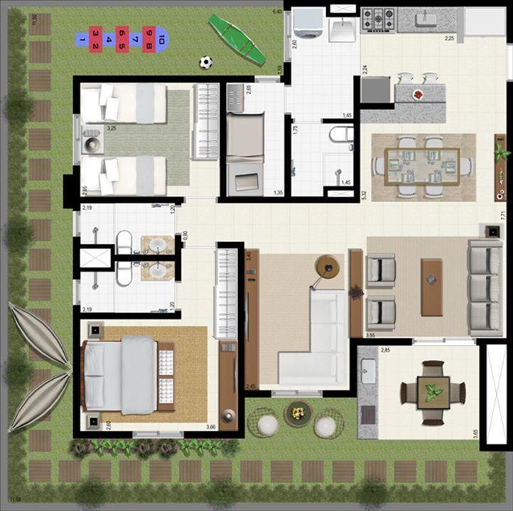 Planta giardino 140 m² - ampliada | L´Acqua Condominium Club – Apartamentoem  Neópolis - Natal - Rio Grande do Norte