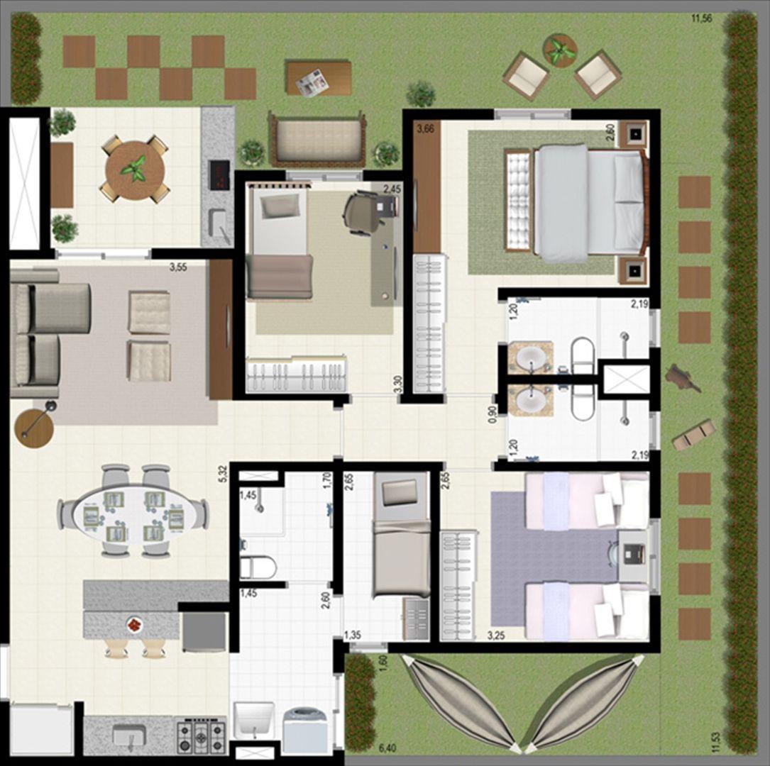 Planta giardino 140 m² A | L´Acqua Condominium Club – Apartamento em  Neópolis - Natal - Rio Grande do Norte