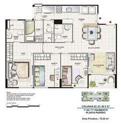 Planta tipo 72,5 m² | Vita Residencial Clube Recife – Apartamento em  Imbiribeira - Recife - Pernambuco