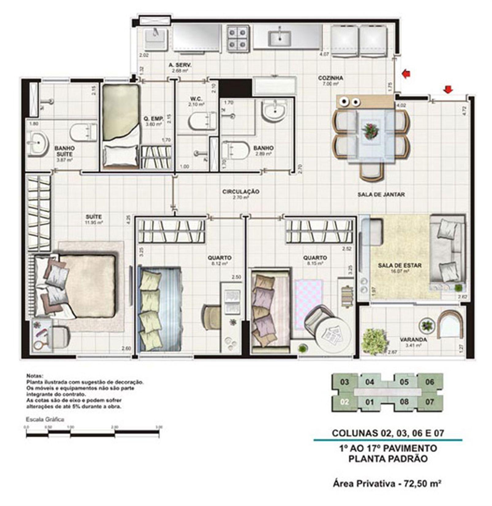 Planta tipo 72,5 m² | Vita Residencial Clube Recife – Apartamentoem  Imbiribeira - Recife - Pernambuco