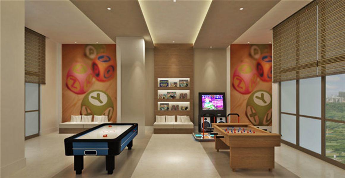Perspectiva ilustrada do salão de jogos juvenil